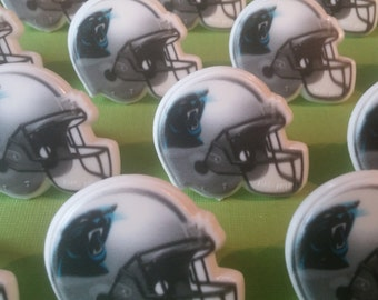 24 CAROLINA PANTHERS Super Bowl helmet cupcake rings pick cake topper NFL Football Birthday party goodie bag favor sports bachelor grooms