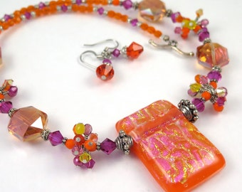MAJOR MARKDOWN - Bright Orange Magenta Yellow Wire Wrapped Crystal Clusters on a Beaded Dichroic Fused Glass Necklace