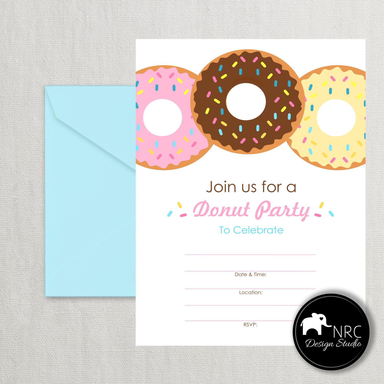 50% SALE Donut Invitation Fill In Invitation by NRCDesignStudio