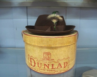 Vintage 40's DUNLAP Brown Felt Wool Women's Fedora Hat w/Feather & Hat Box