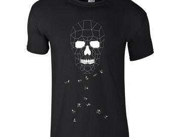 Funky skull tee, Geometric skull t shirt, halloween shirt, spooky clothing, artsy tee shirt