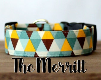 "Unisex Yellow, Brown, Turquoise Geometric  Dog Collar ""The Merritt"""