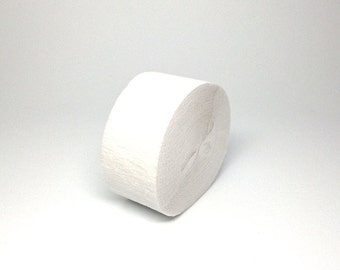 White Crepe Paper Streamer Roll - 81 Feet Long - Paper Craft Party Supplies