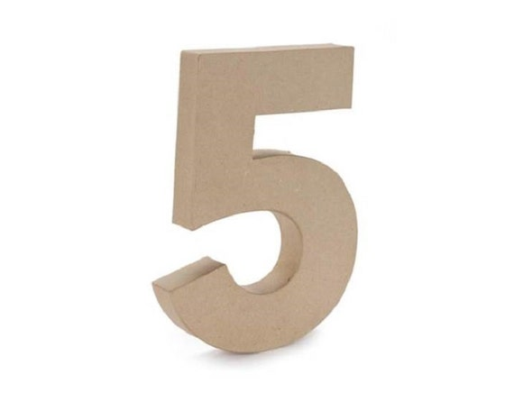 Paper mache cardboard 12 inch number 5 numbers five for Number 5 decorations