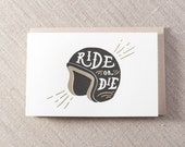 Ride or Die Helmet Letterpress Greeting Card