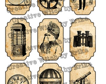 Steampunk digital printable tags, instant download