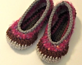 Serendipity Slippers  crochet house shoes stripes shades of pink, brown size 5 6  ONE OF A KIND ready to ship