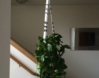 Large Macrame Plant Hanger White Nylon cord and Wooden Beads