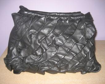"Renato Angi Venezia Black Leather Ruffled Shoulder Bag Handbag Purse Perfect 14""x9"""