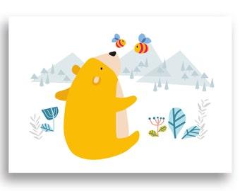 Instant Download PDF file Nursery Decor, Nursery Art Print, Nursery Wall Art, Playroom Decor,  Bear and Bees Print