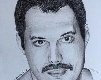 Freddie Mercury Queen original pencil drawing A4 ooak fan-art