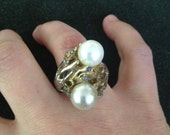 """really cool """"bird's nest"""" pearl cluster adjustable ring"""