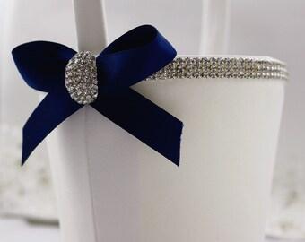 Something Blue Crystal Flower Girl Basket , Wedding Basket , Flower Girl Basket , Your Color
