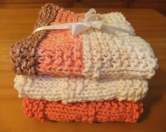 HANDKNIT DISHCLOTHS - Set of Three In Pretty Colors/Knitted Dishcloths/Fall Colors