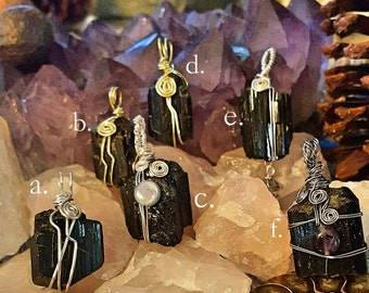SageAine: Black Tourmaline Crystal Amulets,Dispel Transmute Negativity,Reiki Charged, Crystal Healing