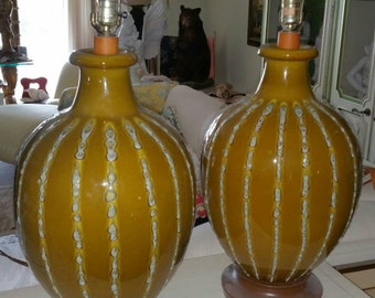 Mid Century Modern Vintage Pair Pottery Lava Glaze Lamps HUGE Hollywood Regency Italian Lighting