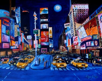 New York City Times Square at Night Print By Artist Diego Godoy