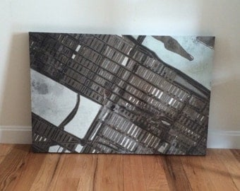 Abstract Map of NYC Manhattan Upper East Side- Gallery Wrap Canvas
