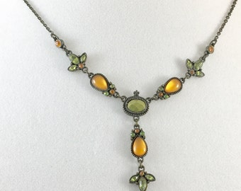 Victorian Style Floral Golden Yellow Green Rhinestone Necklace
