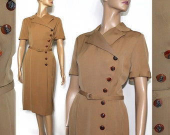 Vintage 1940s Dress//Brown//Lucite Buttons//Rayon Dress