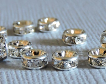 10 Clear Rhinestone 5mm Round Metal Spacer Beads