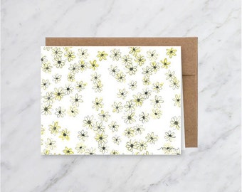 Generic Blank Daisy Flower Card- Notecards- Greeting Card-Watercolor