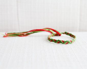 Woven Bracelet Green and Red ZigZag Friendship Bracelet Christmas Stocking Stuffer