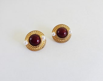 Earrings Gold with Burgundy Stone & Pearls Vintage Button Clip-Ons