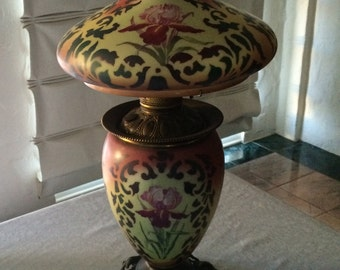 Vintage Red Floral Gone With The Wind Lamp