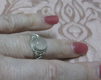 Rose Quartz Sterling Silver Ring Sizes 3 1/2 and 5 1/2