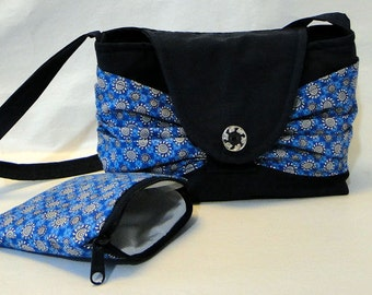 Navy shoulder purse, Shoulder Purse, Shoulder Bag, Navy swag purse, Cosmetic purse, Coin purse