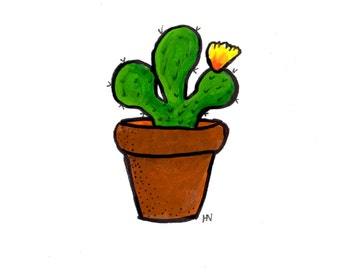 Original Cute Cactus Painting-Notecard Sized