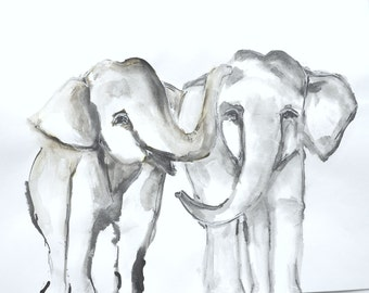 8x10 Giclee Elephants print from Original Ink Painting by Allison Lee Boston MA, Two Young Elephants Painting Gift Idea, Art Print, Giclee