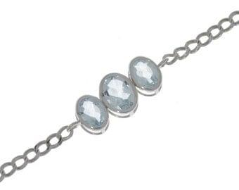 Aquamarine Oval Bezel Bracelet .925 Sterling Silver