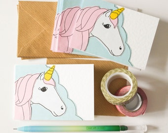 Unicorn note cards, Lunch Box Notes, Thank you Unicorn cards, Stocking fillers, Cards for unicorn lover, Magical unicorn greeting card pack