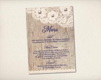 """Wedding Menu with Thank You Card, Rustic Wood Menu, Modern Vintage Menu, Elegant Pearl Lace Menu, 4""""x9"""" Double Sided DIY Printable (M11)"""