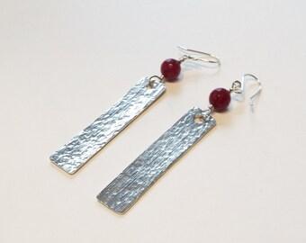 Ruby and fine silver earrings