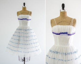 vintage 1950s party dress | 50s tulle dress | vintage white formal prom dress