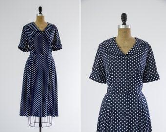 1950s day dress | vintage polka dot dress | 1950s shirtwaist dress | large