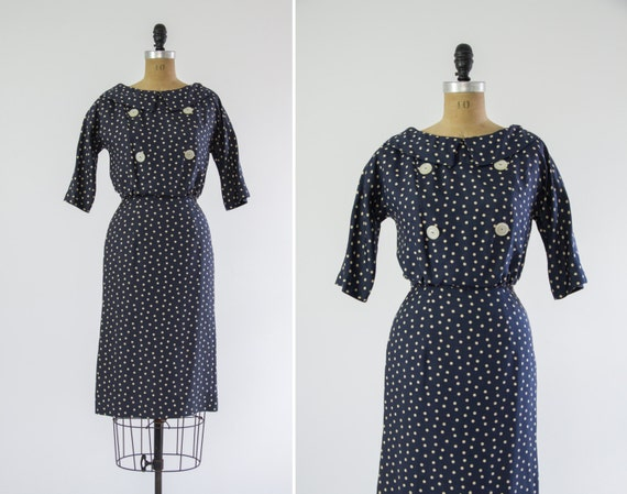 vintage 1950s wiggle dress | vintage silk polka dot dress | small medium