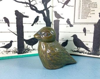 vintage brass bird figurine - bird knick knack - paperweight