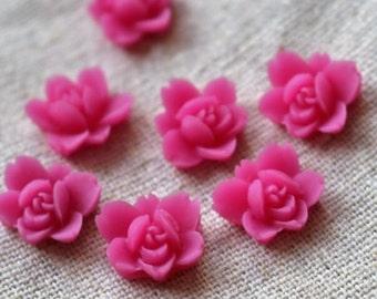 12 pcs of resin lotus flower cabochon RC0011-10-magenta