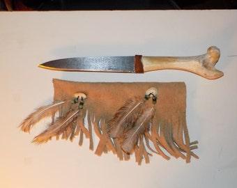 Deer leg bone knife, Native American Style, Leather Sheath