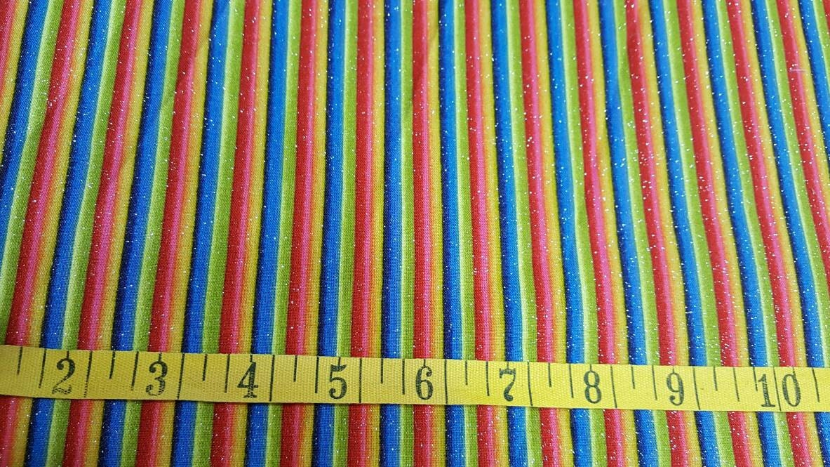 100 cotton quilting fabric stripes of blue yellow red for Minecraft fabric by the yard