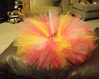 bright pink, yellow and blue tutu