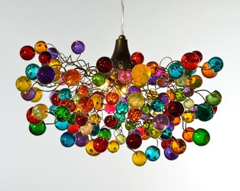 Multicolored bubbles lighting fixtures , hanging lamp with different size of bubbles for children room or dining room.