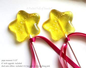 "Fairy Wand, 10 Star Wand Party Favors, Princess Party Favors, Pinkalicious Birthday Party, Princess Wand, STAR Wands, 6"" stick/satin ribbon"