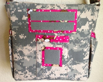 XS ACU diaper bag with pink monkey fabric