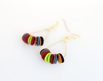 Earrings multicolor round module