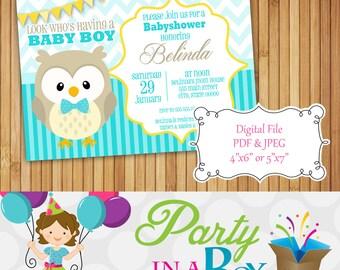 Owl Baby Shower Invitation DIY Printable Digital File